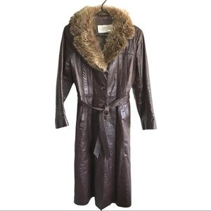 Vintage Genuine Leather Fur Collared Long Jacket